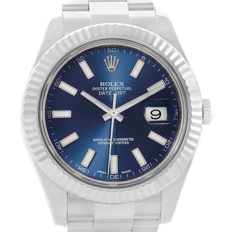 Rolex Datejust II 41 Steel White Gold Blue Baton Dial Mens Watch 116334 SwissWatchExpo