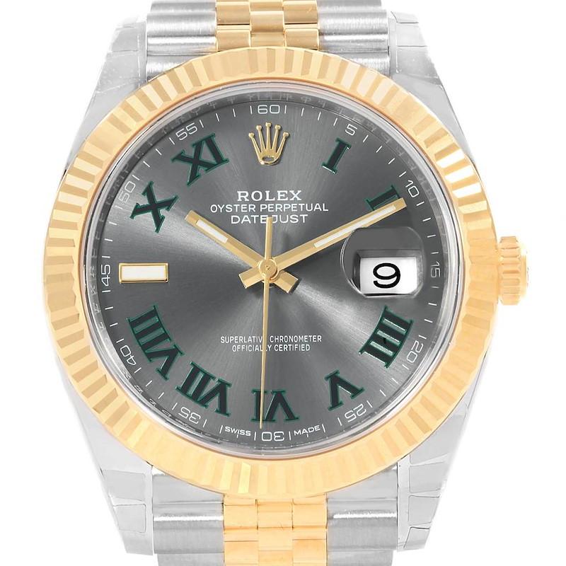 Rolex Datejust 41 Steel Yellow Gold Green Roman Watch 126333 Unworn SwissWatchExpo