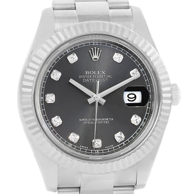 Rolex Datejust II Steel White Gold Diamond Dial Mens Watch 116334 SwissWatchExpo