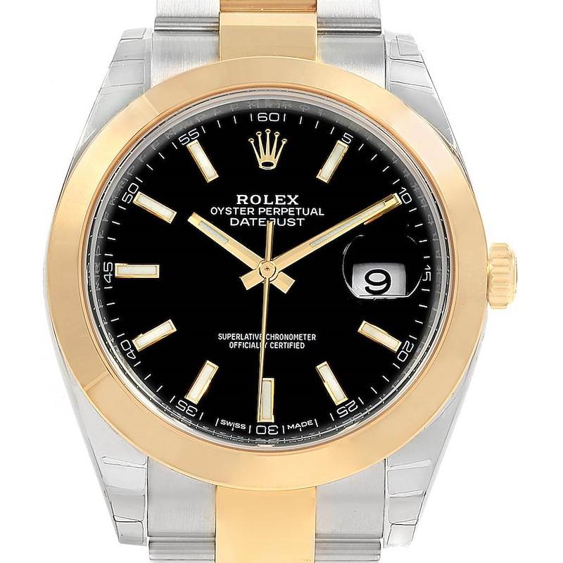 Rolex Datejust 41 Steel Yellow Gold Black Dial Watch 126303 Unworn SwissWatchExpo