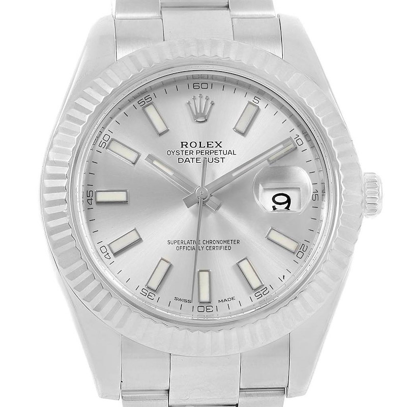 Rolex Datejust II 41 Steel White Gold Silver Dial Mens Watch 116334 SwissWatchExpo