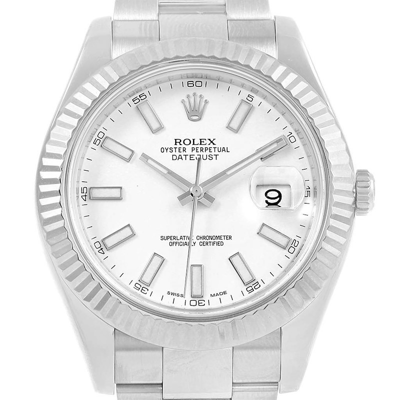Rolex Datejust II Steel White Gold White Dial Mens Watch 116334 Unworn SwissWatchExpo