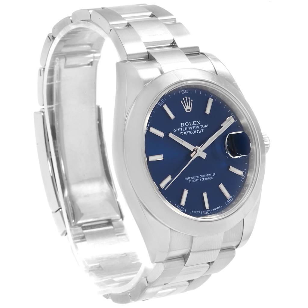 Rolex Datejust 41 Blue Baton Dial Stainless Steel Mens Watch 126300 SwissWatchExpo
