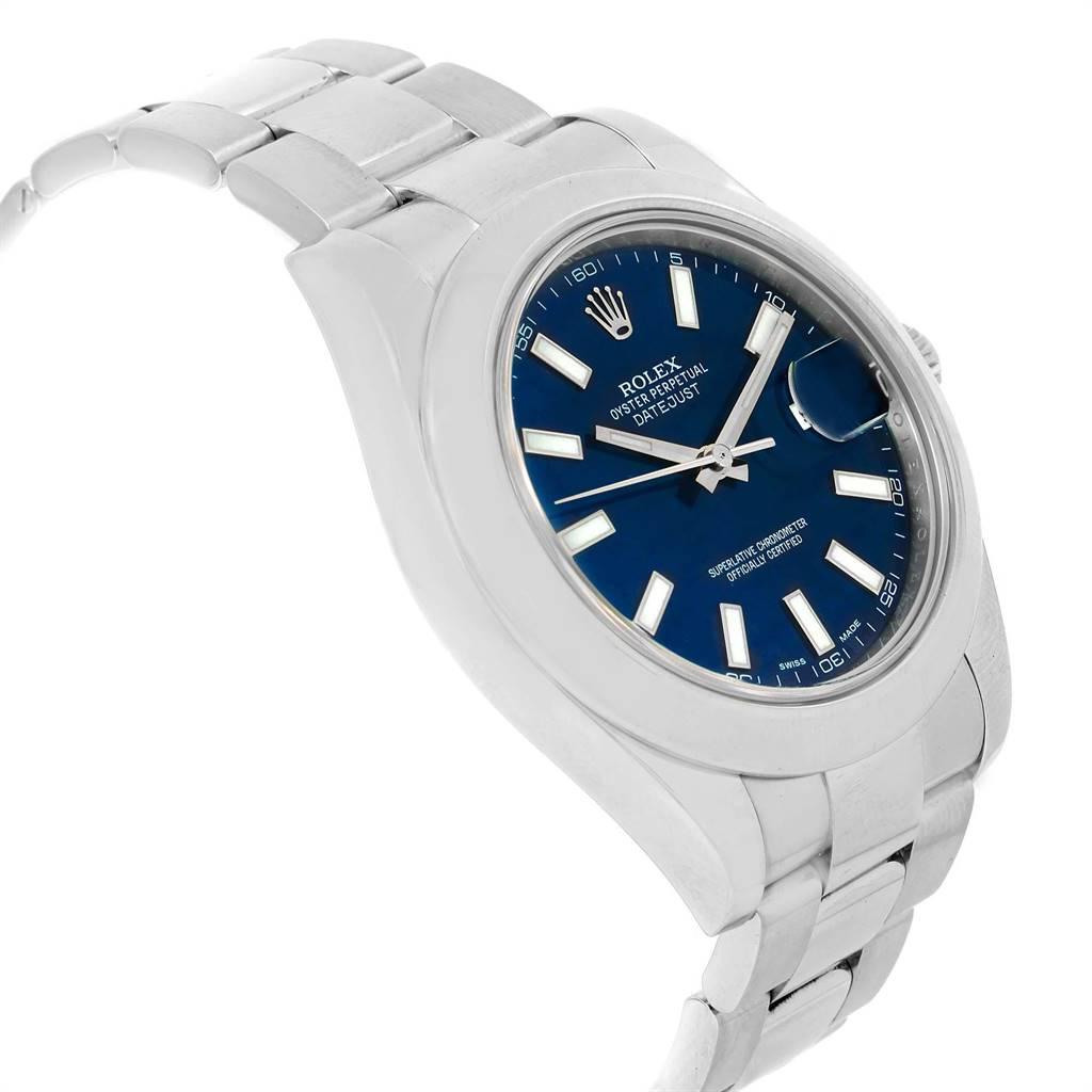 Rolex Datejust II Blue Baton Dial Steel Mens Watch 116300 Box Card SwissWatchExpo