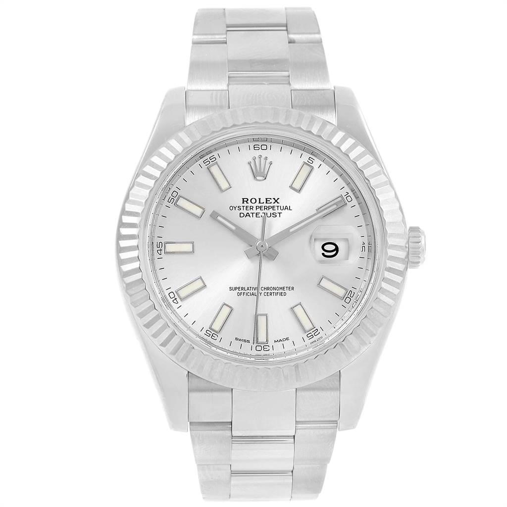 Rolex Datejust II Steel White Gold Silver Dial Watch 116334 Box Card SwissWatchExpo