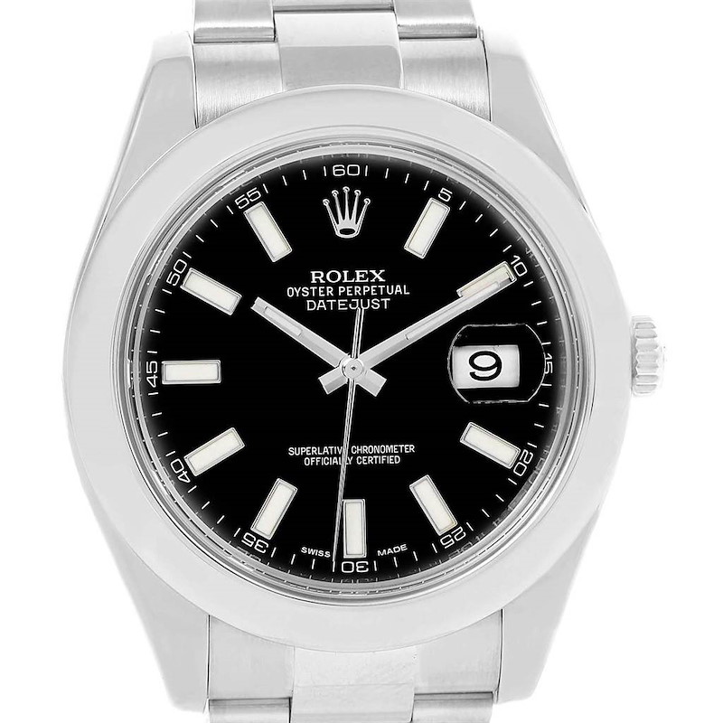 Rolex Datejust II Black Baton Dial Stainless Steel Mens Watch 116300 SwissWatchExpo