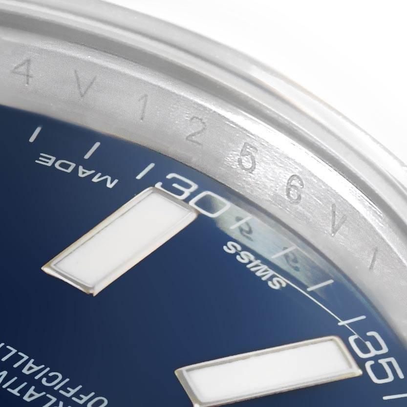 Rolex Datejust II Blue Baton Dial Stainless Steel Mens Watch 116300 SwissWatchExpo