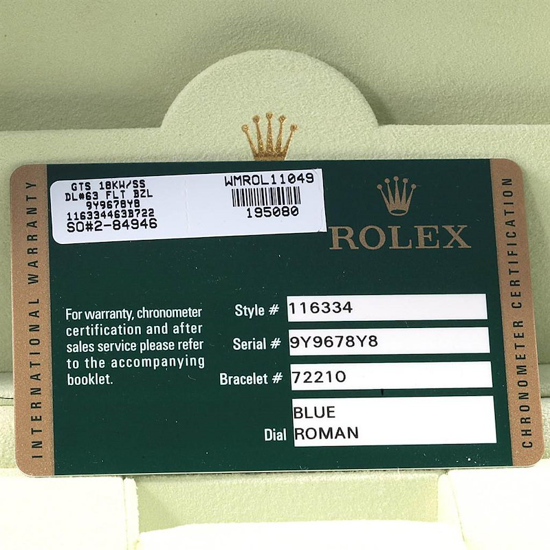 Rolex Datejust II Blue Roman Dial Fluted Bezel Watch 116334 Box Card SwissWatchExpo