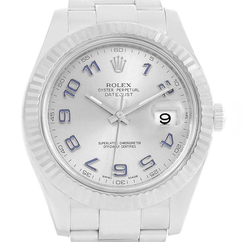 Rolex Datejust II 41 Steel White Gold Fluted Bezel Watch 116334 Box Card SwissWatchExpo