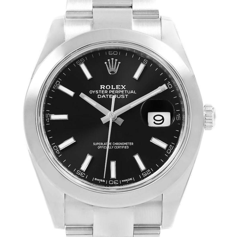 Rolex Datejust 41 Black Dial Oyster Bracelet Steel Mens Watch 126300 SwissWatchExpo
