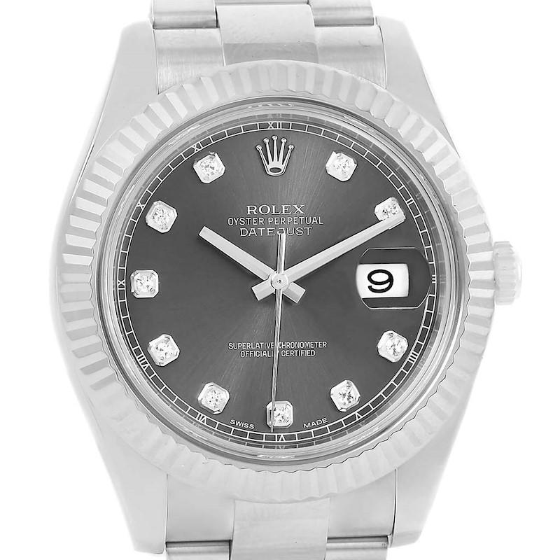 Rolex Datejust II Diamond Dial Fluted Bezel Mens Watch 116334 Box Card SwissWatchExpo