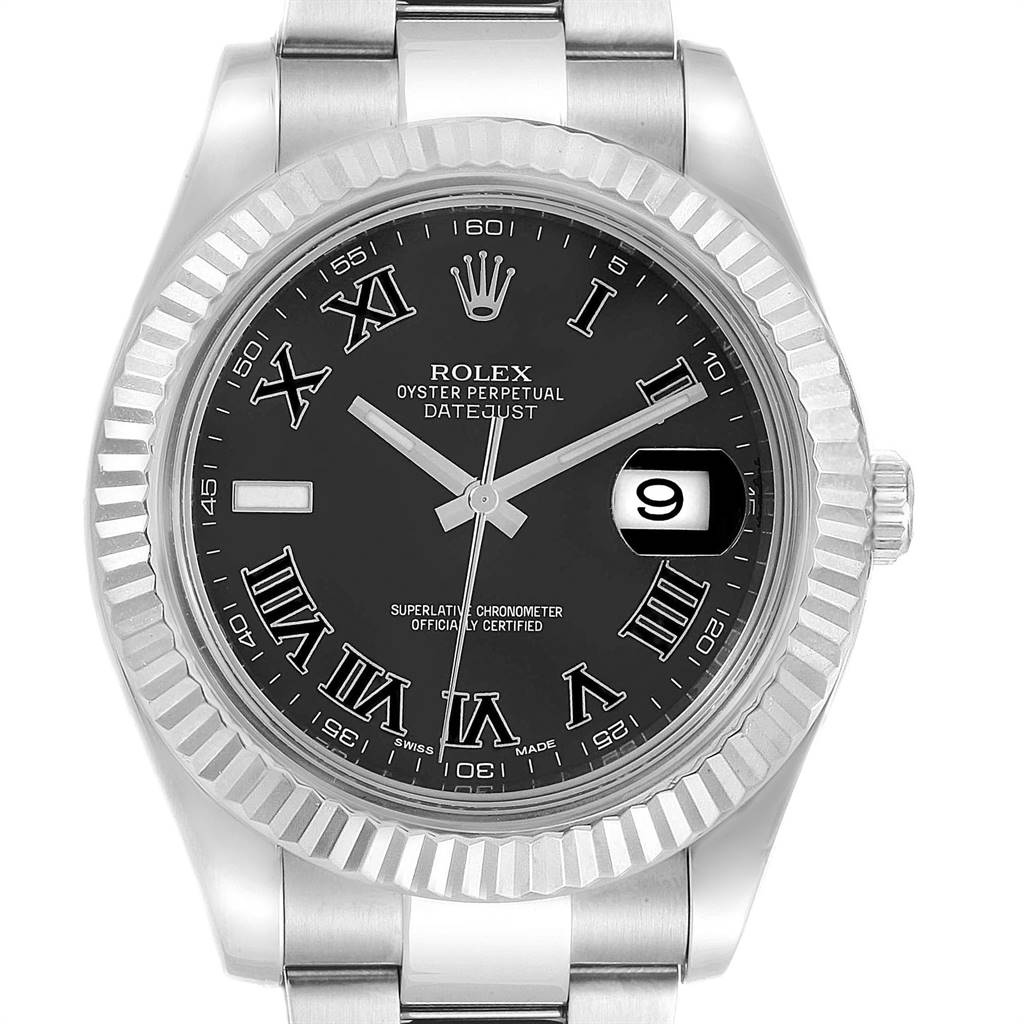 Rolex Datejust II Steel White Gold Grey Dial Mens Watch 116334 Box Card SwissWatchExpo