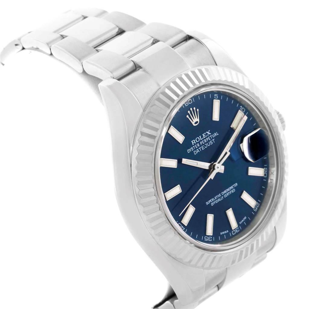 Rolex Datejust II 41 Steel White Gold Fluted Bezel Mens Watch 116334 SwissWatchExpo