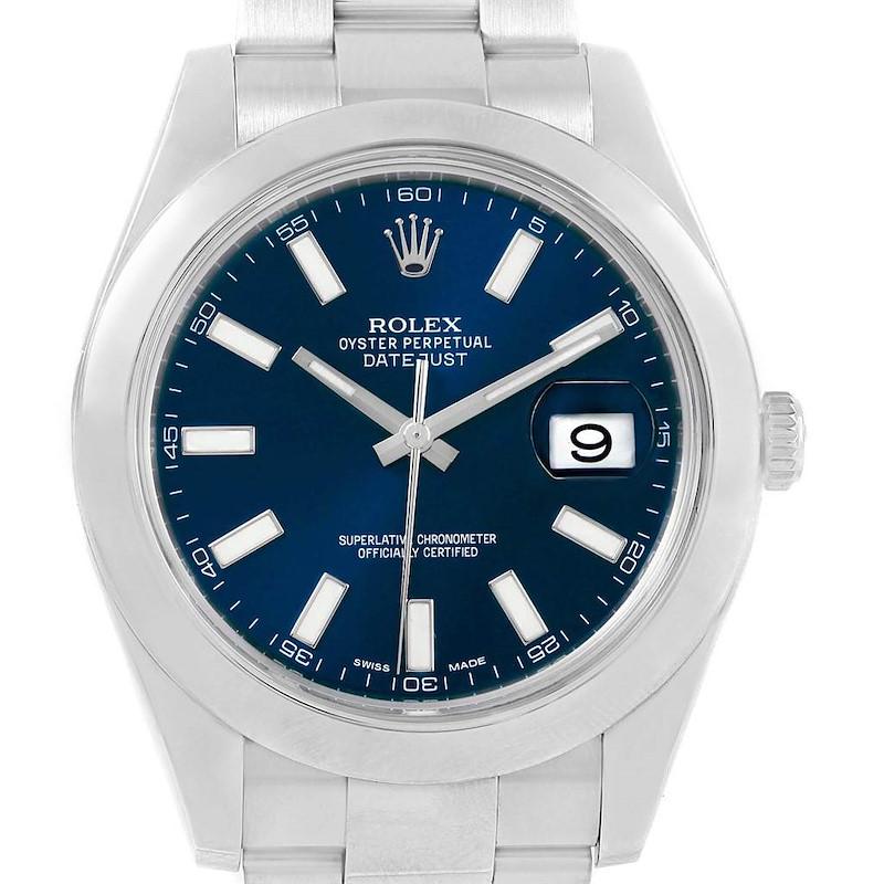Rolex Datejust II 41mm Blue Baton Dial Steel Mens Watch 116300 SwissWatchExpo