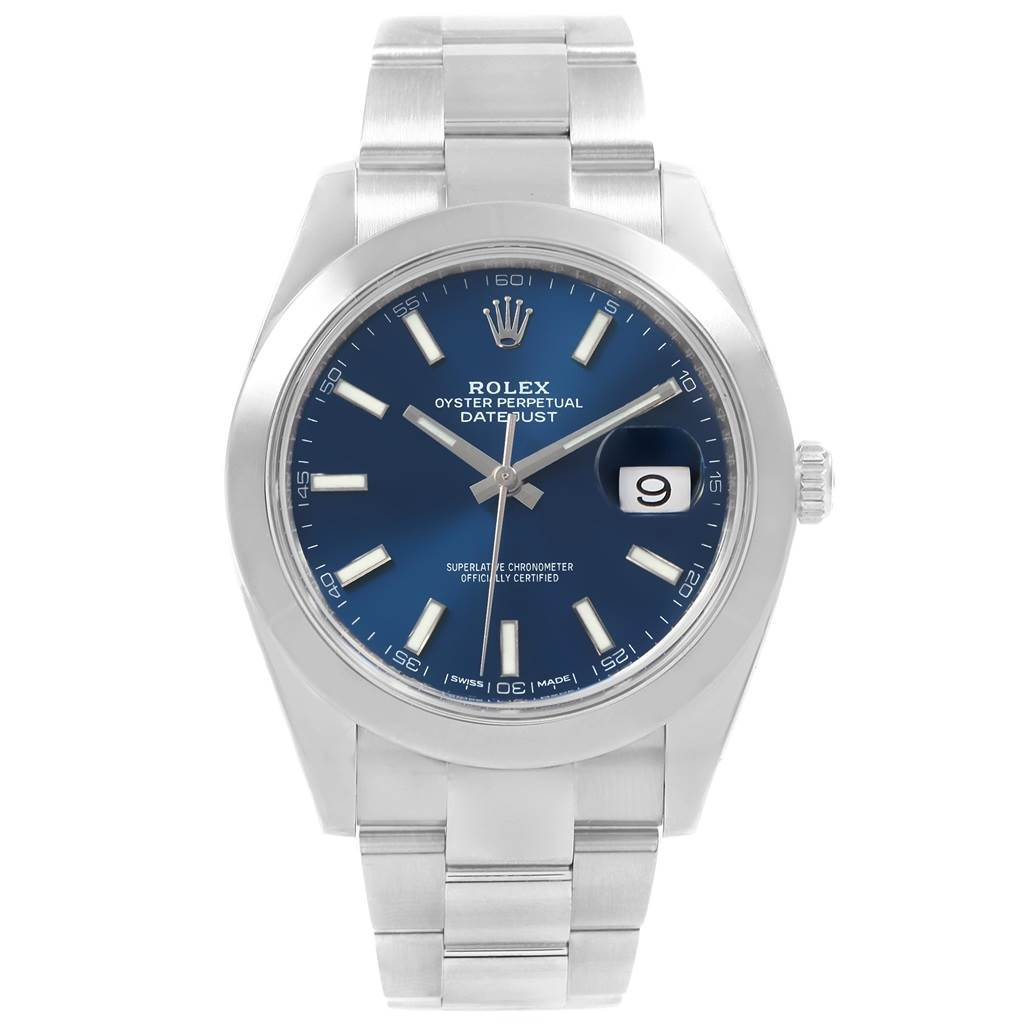 Rolex Datejust 41 Blue Dial Oyster Bracelet Steel Mens Watch 126300 SwissWatchExpo