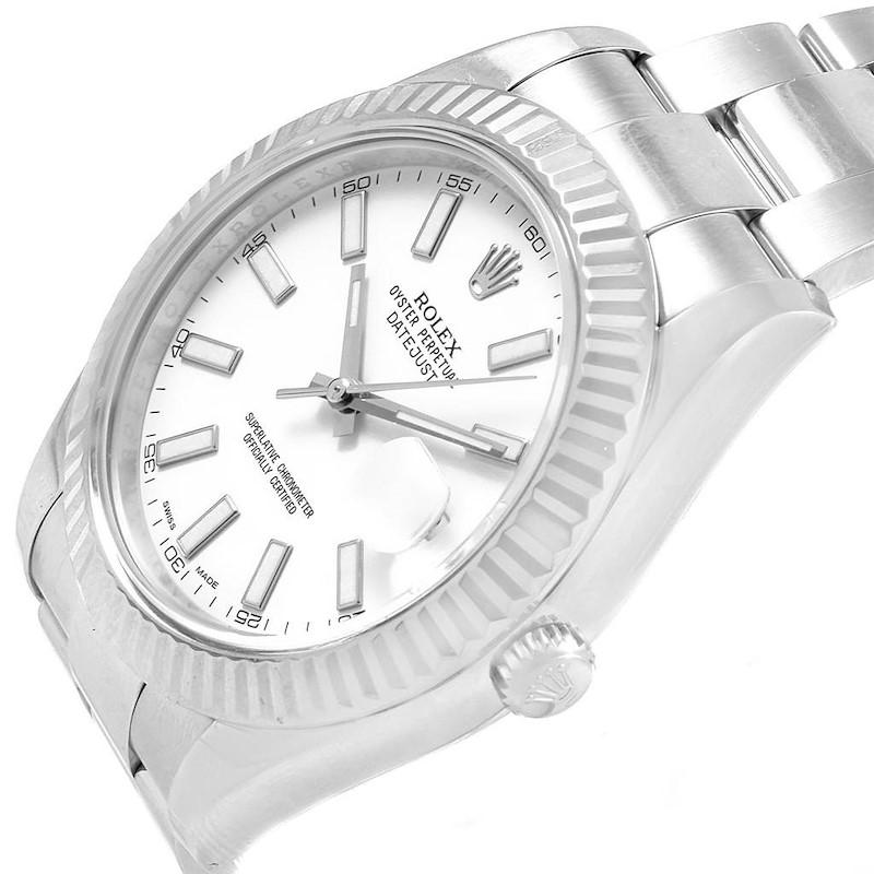 Rolex Datejust II Steel White Gold White Dial Mens Watch 116334 Box SwissWatchExpo