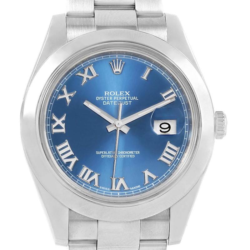 Rolex Datejust II 41mm Steel Blue Roman Dial Watch 116300 SwissWatchExpo