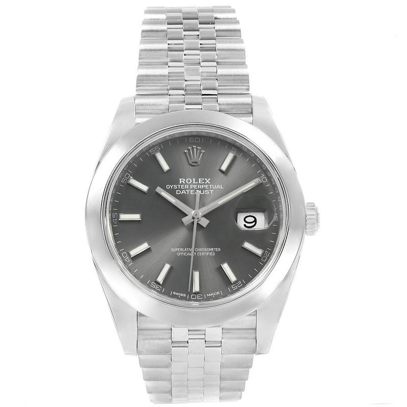 Rolex Datejust 41 Grey Dial Jubilee Bracelet Steel Mens Watch 126300 SwissWatchExpo