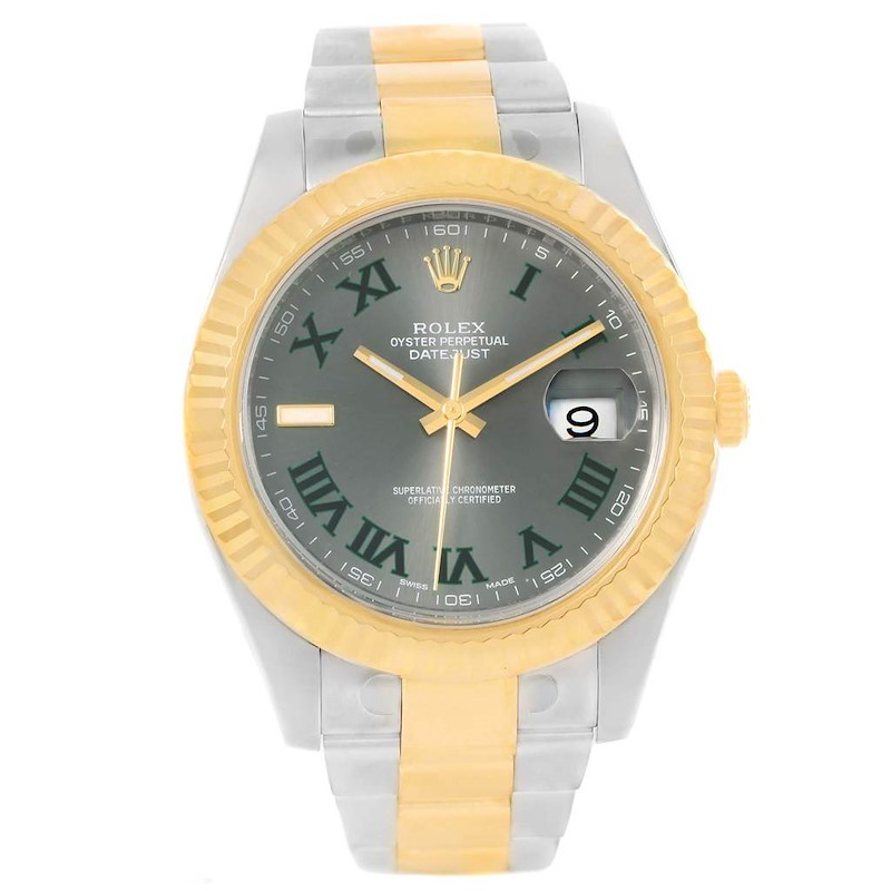 Rolex Datejust II Steel Yellow Gold Green Roman Watch 116333 Box SwissWatchExpo