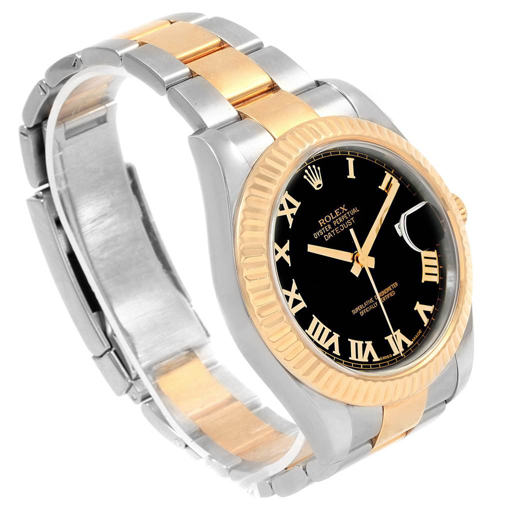 19951 Rolex Datejust II Steel Yellow Gold Black Dial Watch 116333 Box Card SwissWatchExpo