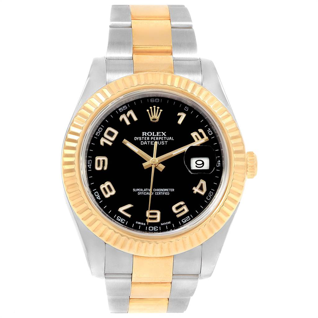 Rolex Datejust II Steel Yellow Gold Black Dial Mens Watch 116333 Box SwissWatchExpo