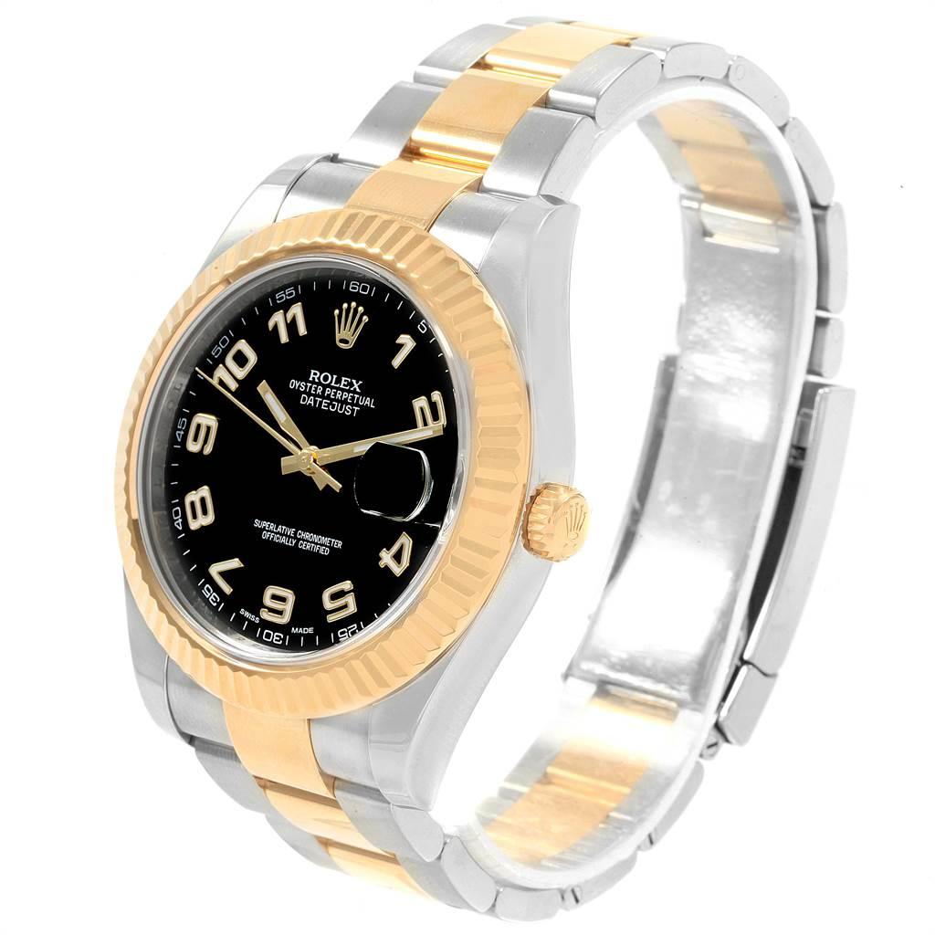 19910 Rolex Datejust II Steel Yellow Gold Black Dial Mens Watch 116333 Box SwissWatchExpo