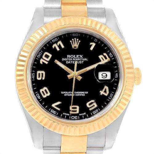 Photo of Rolex Datejust II Steel Yellow Gold Black Dial Mens Watch 116333 Box