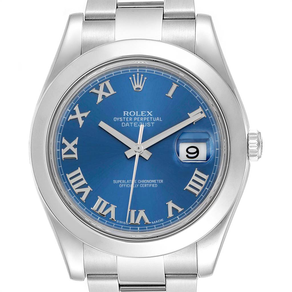 Rolex Datejust II 41mm Stainless Steel Blue Roman Dial Watch 116300 SwissWatchExpo
