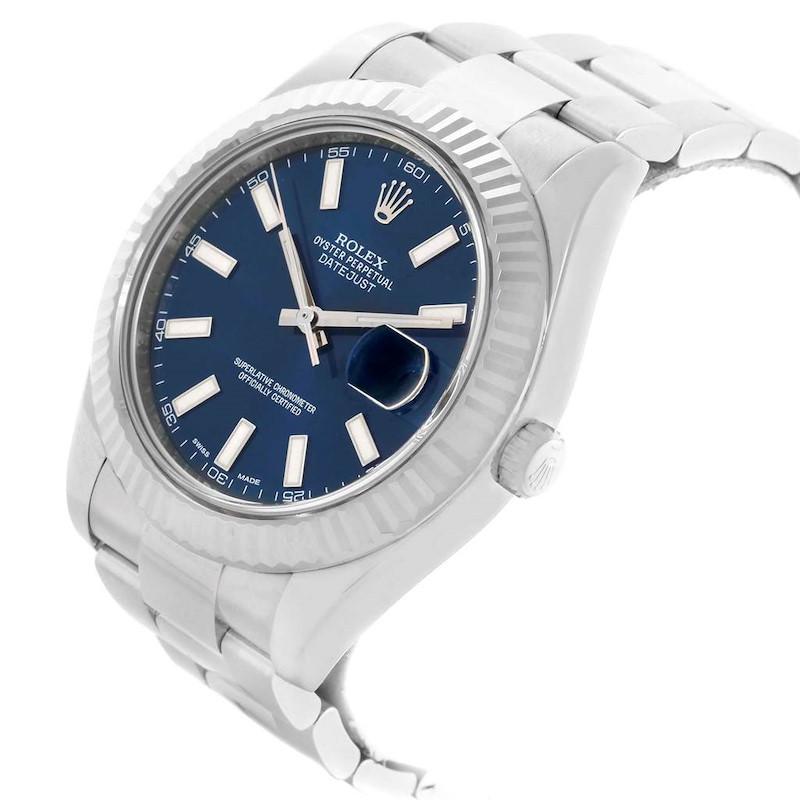 Rolex Datejust II 41 Steel 18K White Gold Fluted Bezel Mens Watch 116334 SwissWatchExpo