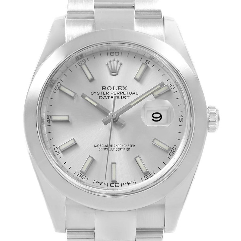 Rolex Datejust 41 Silver Dial Automatic Steel Mens Watch 126300 SwissWatchExpo