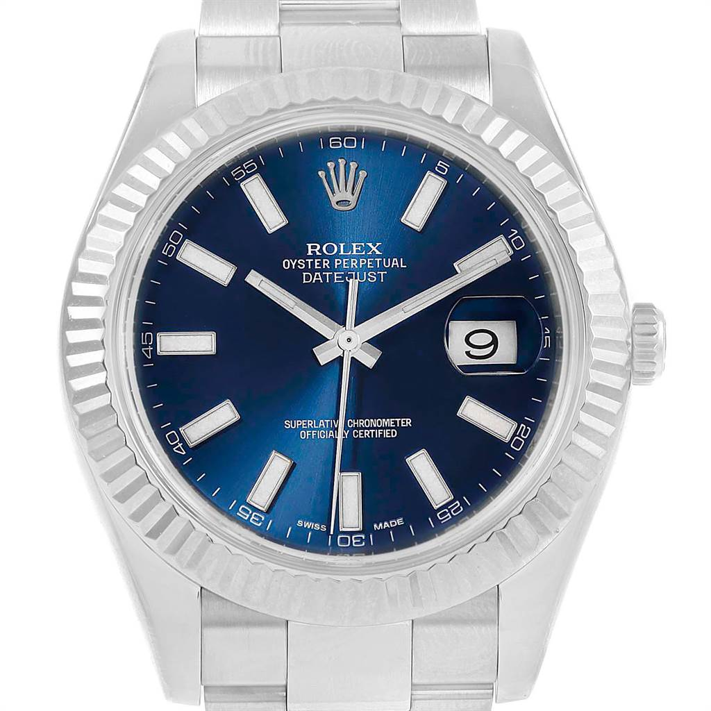 Rolex Datejust II Steel White Gold Blue Dial Mens Watch 116334 Card SwissWatchExpo