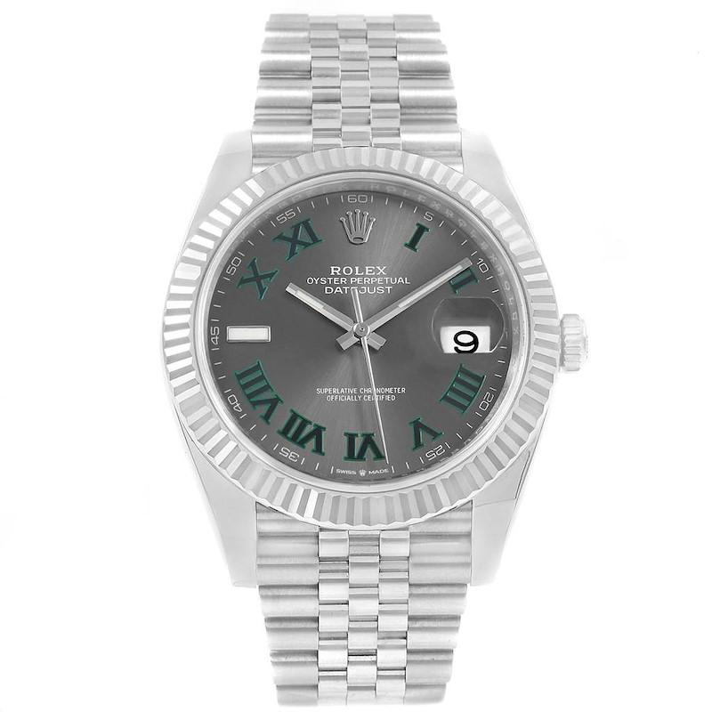 Rolex Datejust 41 Steel White Gold Slate Roman Dial Mens Watch 126334 SwissWatchExpo