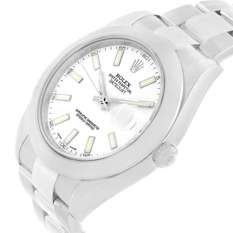 Rolex Datejust II White Dial Domed Bezel Steel Mens Watch 116300 SwissWatchExpo
