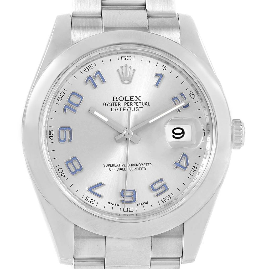 20707 Rolex Datejust II 41mm Silver Arabic Dial Mens Watch 116300 Unworn SwissWatchExpo