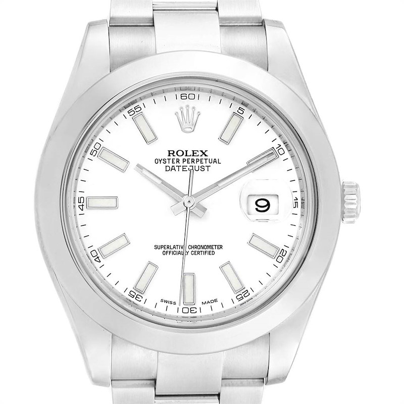 Rolex Datejust II White Dial Oyster Bracelet Steel Mens Watch 116300 SwissWatchExpo