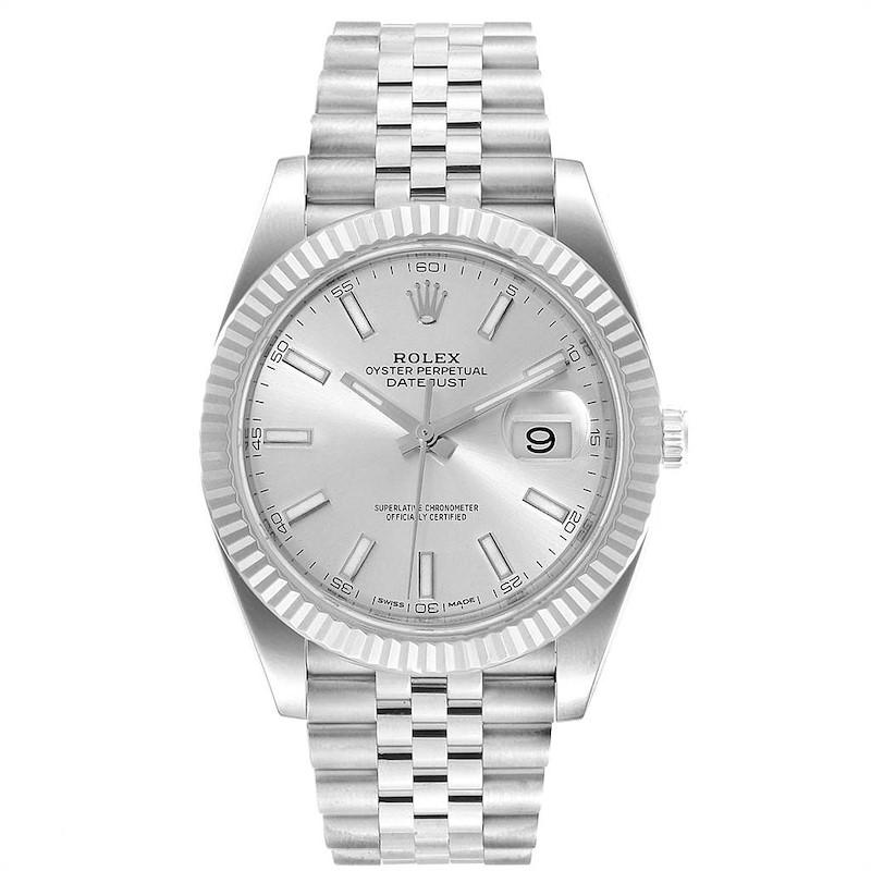 Rolex Datejust 41 Steel White Gold Silver Dial Mens Watch 126334 SwissWatchExpo