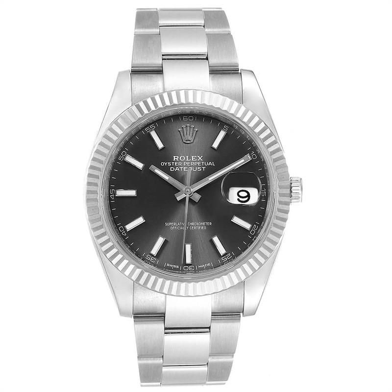Rolex Datejust 41 Steel White Gold Grey Dial Mens Watch 126334 Box Card SwissWatchExpo