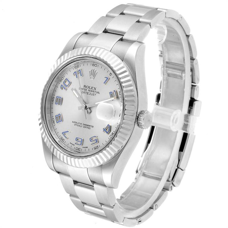 Rolex Datejust II 41 Steel White Gold Fluted Bezel Watch 116334 Box SwissWatchExpo