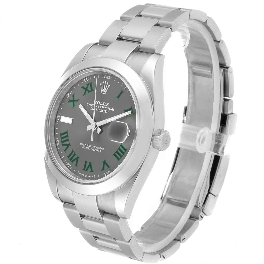 Rolex Datejust 41 Grey Dial Green Roman Numerals Steel Mens Watch 126300 SwissWatchExpo