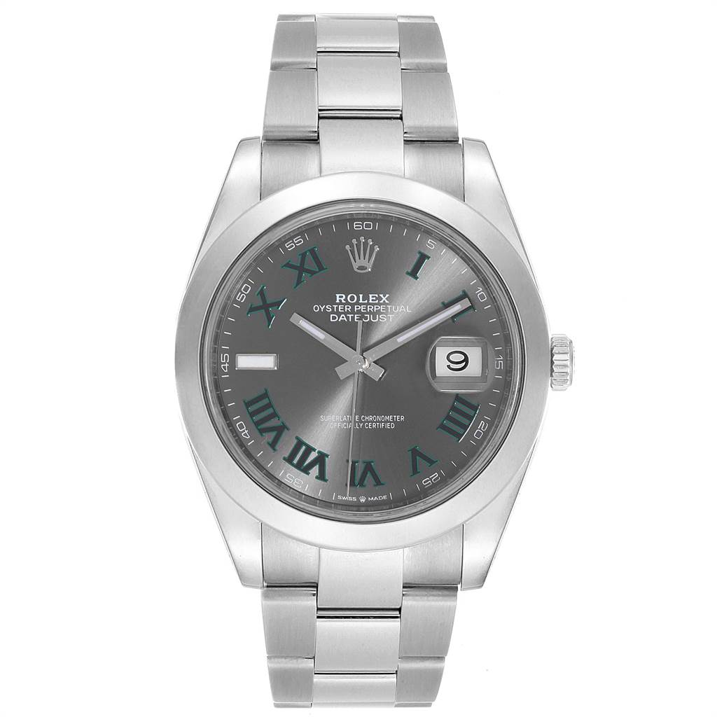 Rolex Datejust 41 Grey Dial Green Roman Numerals Steel Mens Watch 126300