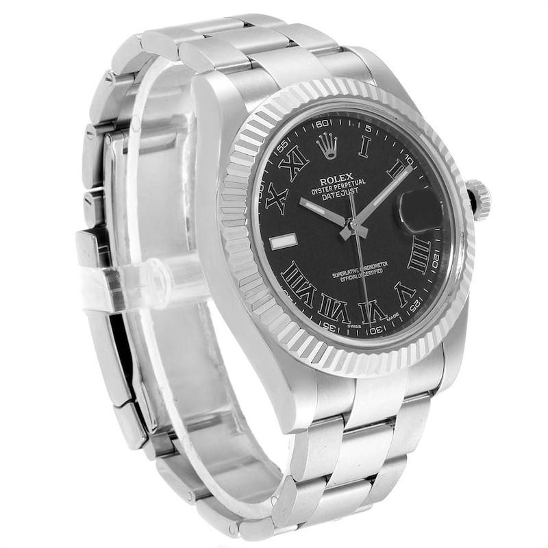 Rolex Datejust II Steel White Gold Grey Dial Mens Watch 116334 SwissWatchExpo