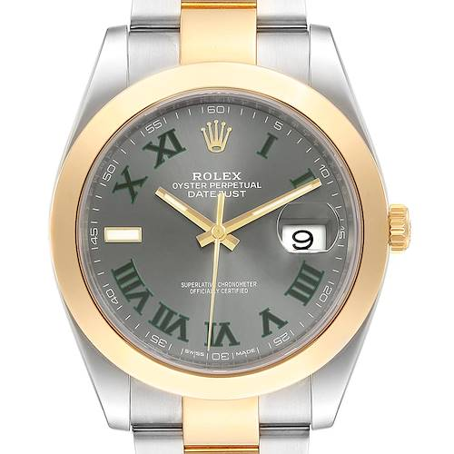 Photo of Rolex Datejust 41 Steel Yellow Gold Grey Green Dial Watch 126303 Box Card