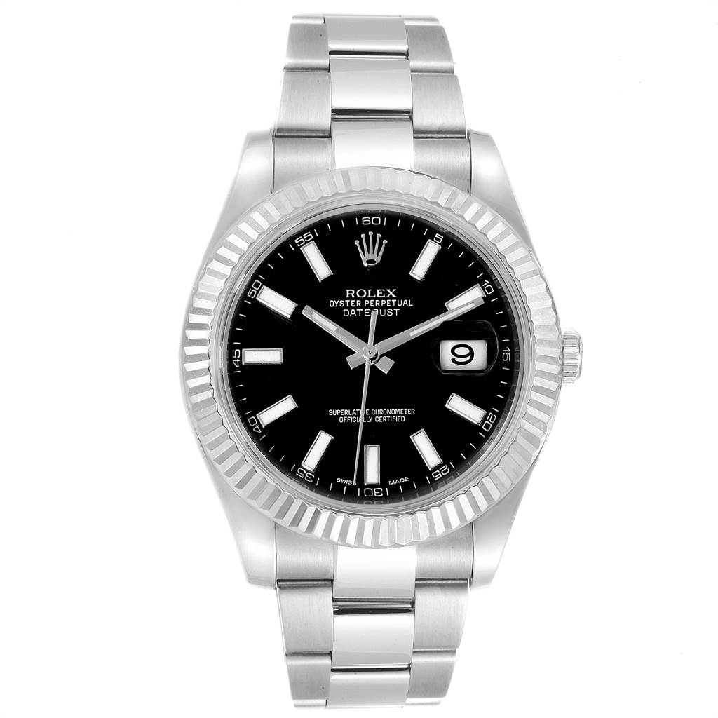 1541e211d24 ... 23109 Rolex Datejust II 41mm Steel White Gold Black Dial Mens Watch  116334 SwissWatchExpo ...