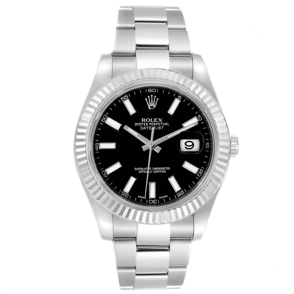 Rolex Datejust II 41mm Steel White Gold Black Dial Mens Watch 116334 SwissWatchExpo