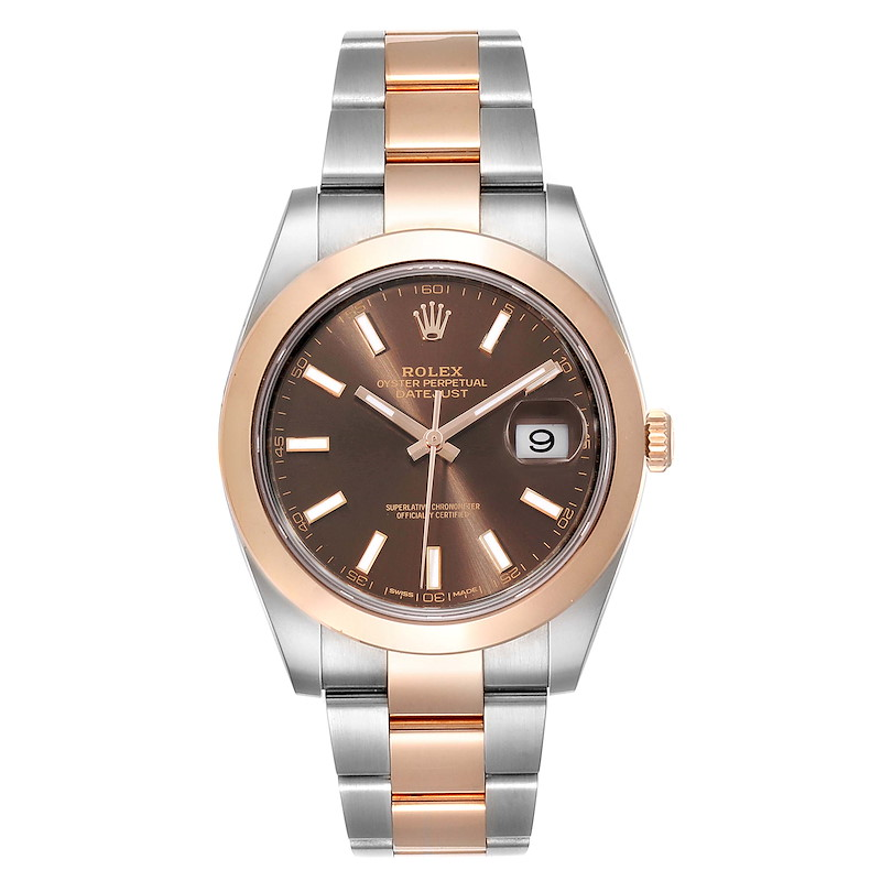 Rolex Datejust 41 Steel Rose Gold Brown Dial Mens Watch 126301 Box Card SwissWatchExpo