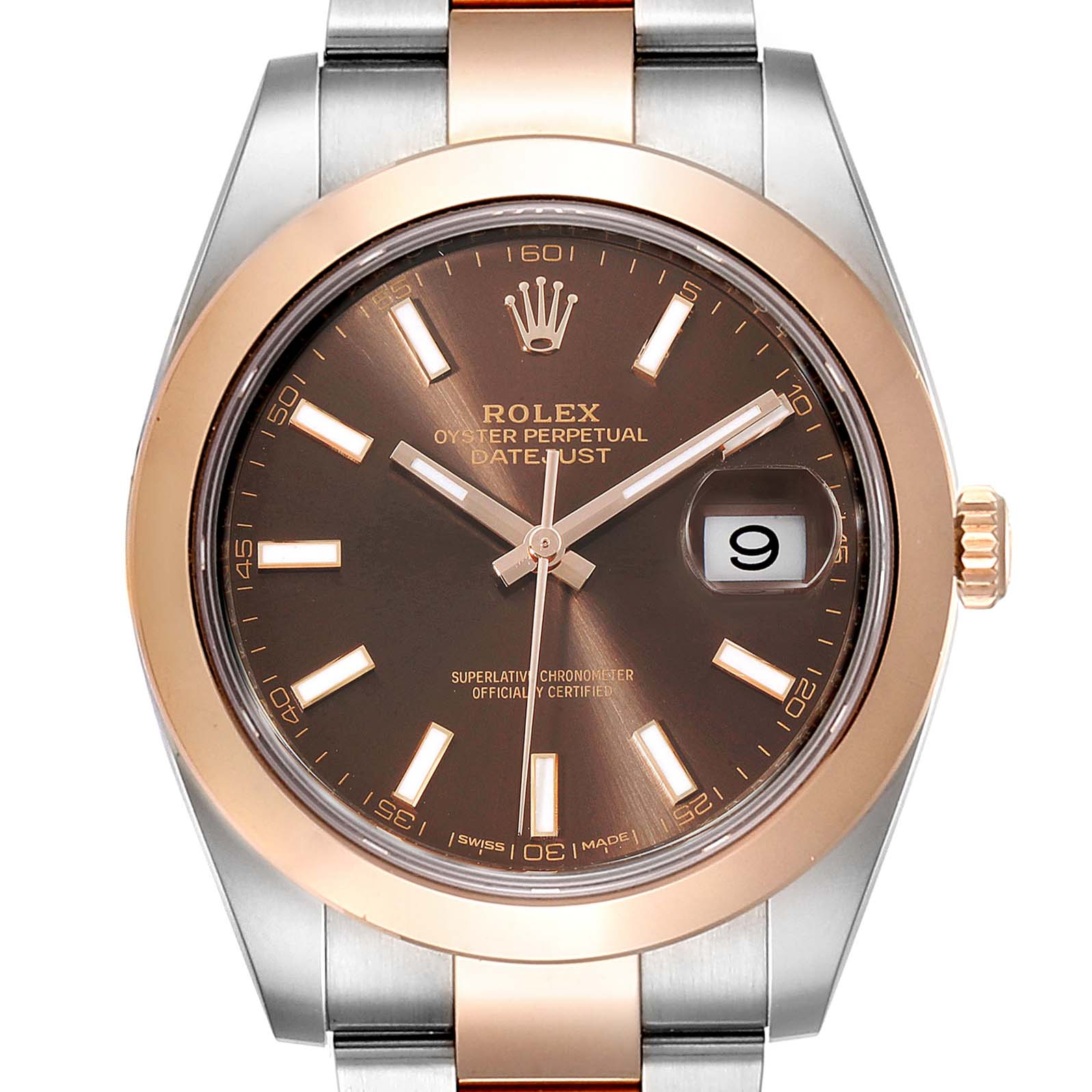 Rolex Datejust 41 Steel Rose Gold Brown Dial Mens Watch 126301 Box Card