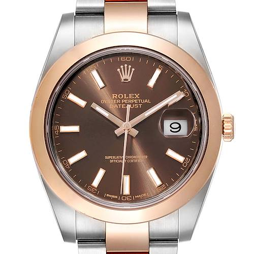 Photo of Rolex Datejust 41 Steel Rose Gold Brown Dial Mens Watch 126301 Box Card