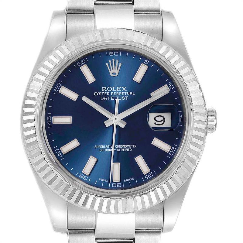 Rolex Datejust II 41mm Steel White Gold Blue Dial Mens Watch 116334 SwissWatchExpo