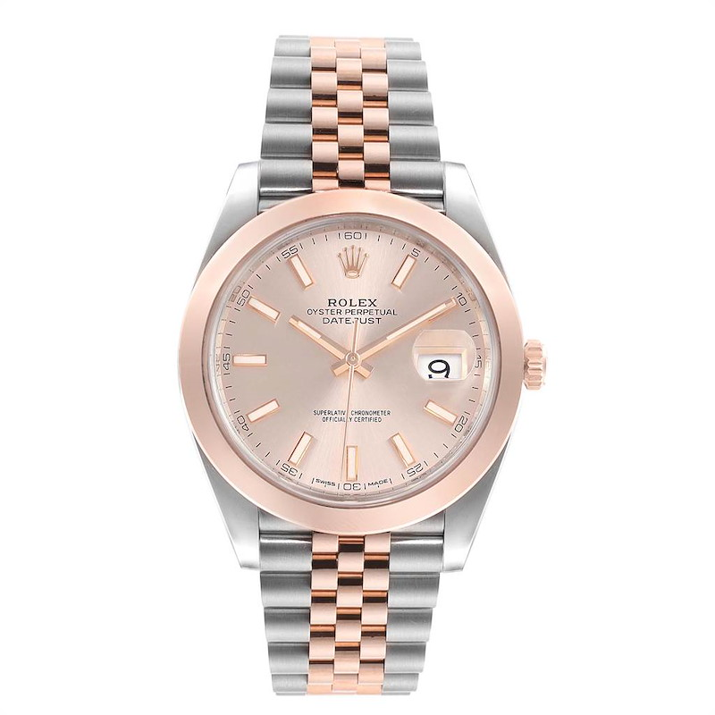 Rolex Datejust 41 Steel Rose Gold Sundust Dial Mens Watch 126301 Box Card SwissWatchExpo