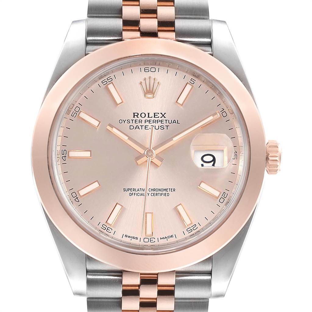 Rolex Datejust 41 Steel Rose Gold Sundust Dial Mens Watch 126301 Box Card